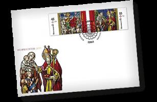 Weihnachtsmarken-Brief mit Bonn-Stempel